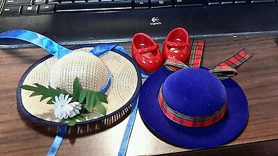 Muffy Vanderbear 2 Hats 1 pair red shoes Retired For Muffy Bear