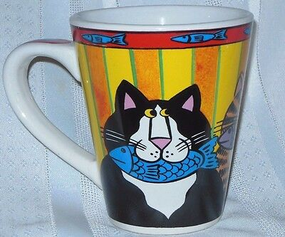 CATZILLA Coffee Mug Candace Reiter 2003 Large Tea Cup Tabby Cat Kitten Fish 4.5""