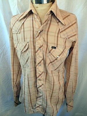 Vintage 70s Soft Thin Brown Plaid Poly/Cotton Miller Western Shirt Pearl Snaps L