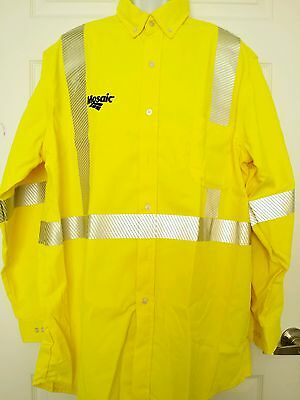 Mens Work Safety FR button down shirt hi-vis yellow Reflect Mosaic nsa 2X tall