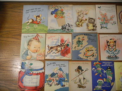 vintage antique humorous cartoon birthday greeting cards | lot of 30 h