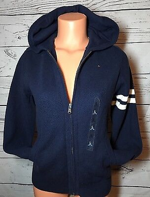 Tommy Hilfiger Boys Youth Zip Up Sweater Hoodie Sz L 14-16 Navy Blue Prep New