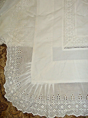 """Lovely Early VTG~Antique Fancy Top Cotton Sheet~Folds Down~Lace~Ruffle~88x108"""""""