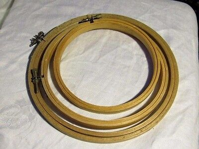 "LOT 3 -Vintage(1) & New(2) WOOD Embroidery HOOPS Round 5"" 6"" 7""  Screw Closures"