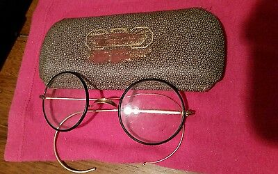 ANTIQUE BLACK GOLD WINDSOR ZYLO STYLE EYEGLASSES Compiled parts with case