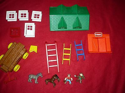 16 pc.  LINCOLN LOGS ROOF, COWBOY, HORSES, DOOR, WINDOWS, LADDERS