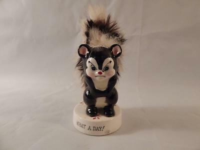 Vintage Ucagco Japan Ceramic Skunk with Fur Tail Figurine WHAT A DAY Mad Disgust