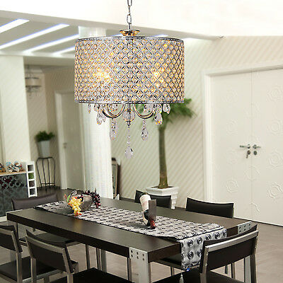 Drum Chandelier Crystal Modern 4 Lights Hanging Pendant lighting Fixture CA