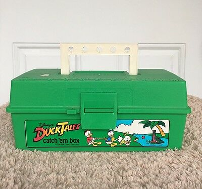 """Vintage Disney Duck Tales """"Catch Em Box"""" Green Plastic Tackle Box Lunch Fishing"""