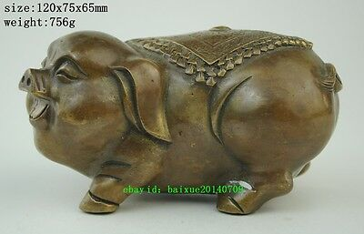 China Folk Fengshui Brass Cute Zodiac Year Pig Coin Animal Statue Sculpture