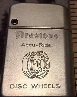 Firestone Tire Lighter - Accu-Ride Disc Wheels With Picture on Front