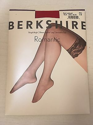 Berkshire Red Stockings Sz AB Romantic Lace Top Thigh High New 170213