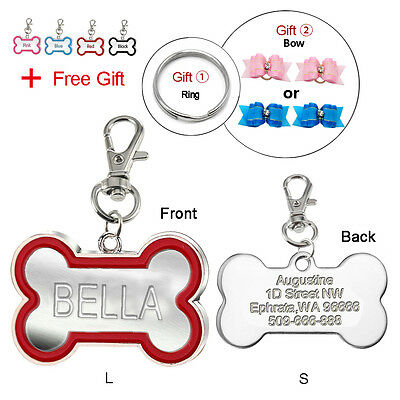 Bone Shape Custom Dog Tags Engraved Cat Pet ID Tags Personlized Name FREE Bows