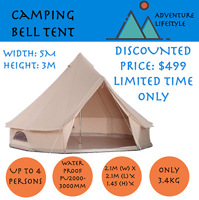 5m Canvas Family Round Bell Tent - Camping Outdoor Waterproof Party Khaki
