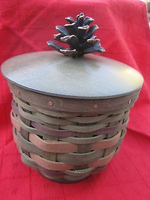 Retired Woodland Pine Cone Longaberger Basket Set Lid Protector Collectors Club