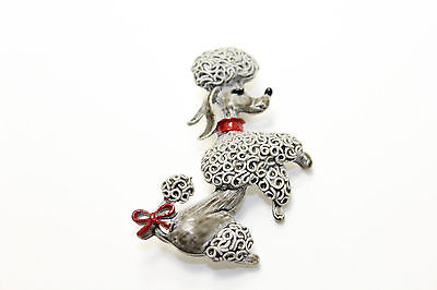 Vintage Signed Gerry's Enamel Spaghetti Grey Poodle Dog Red Bow Pin Brooch