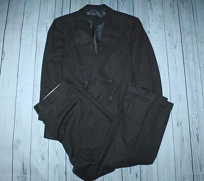 Polo by Ralph Lauren gray-brown dbl breasted fully cnvssd flnnl suit w pants-42S