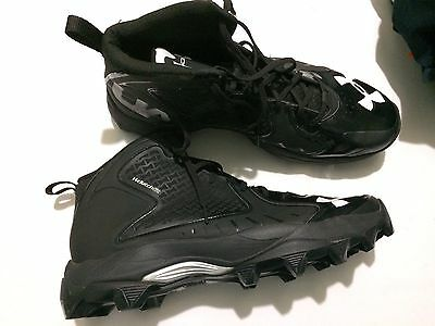 Under Armour Armor Mid Football Cleats Size 14 clutchfit Black & White Lacrosse