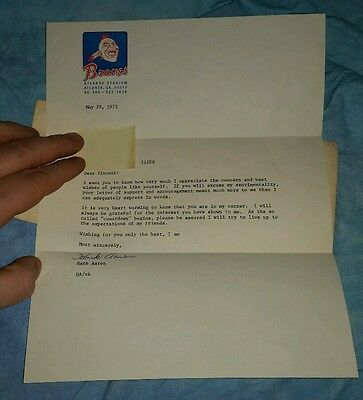Hank Aaron autographed letter 1973
