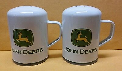 John Deere White Logo Salt and Pepper Shakers EUC! See Pictures for details!