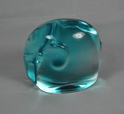 Vintage Blue Glass Elephant Paperweight