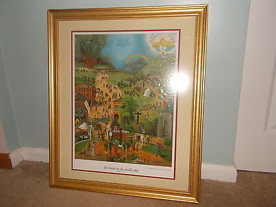 "Vintage Dutch ""The Broad & Narrow Way"" Lithograph Print Framed Religion RARE"