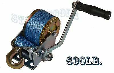 600lbs Polyester Strap Hand Winch Hand Crank Gear Winch ATV Boat Trailer H-D