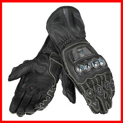 New Dainese Full Metal D1 Leather Gauntlet Race Motorcycle Gloves Black S Small