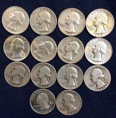 14 Silver Washington Quarters Mixed Years And MM $ 3.50 Face Value