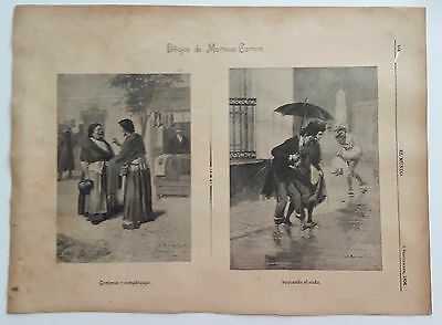 Broadside sheet 1896 with 2 engravings  by Martinez Carrion  Mexican  EL MUNDO