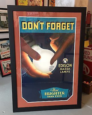 RARE Vintage EDISON MAZDA LAMPS Large Poster Sign Professionally Framed 52x37