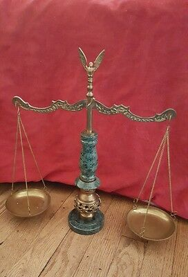 Vintage Brass w/ Marble Barrister Balance Scale of Justice very decorative