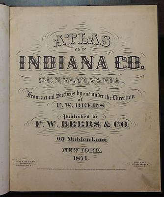 1871 ORIGINAL ATLAS of INDIANA COUNTY Pennsylvania PA Maps BEERS Illustrated