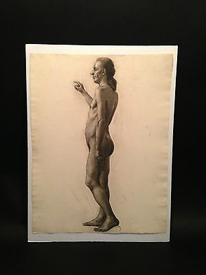 c.1914 Charcoal Drawing MALE NUDE STUDY #3 On French Michallet Paper