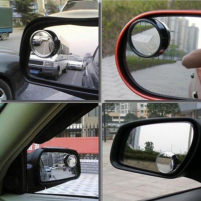 2 Pcs Car Auto Blind Spot Mirror Driver Wide Angle Round Convex Side Rear View