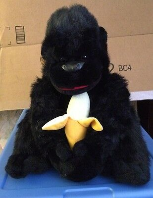 Sitting Black Gorilla With Banana  By Fine Toy