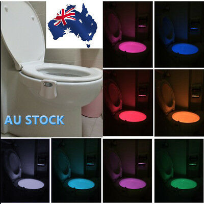 Colorful Human Body Motion Sensor LED Toilet Bowl Bathroom Night Light Lamp DX