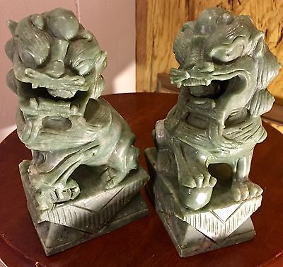 Vintage Pair Of Chinese Carved Jade Foo Fu Dog Lion Statues
