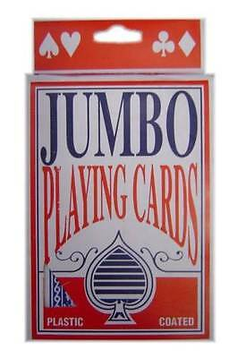 Deluxe Plastic Coated Jumbo Playing Cards Deck Novelty Poker Card Games All Ages