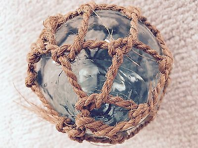 Light Blue Vintage Japanese Clear Fishing Float with Bubbles+Net 11.5 In Circumf