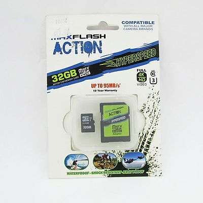 Max Flash Action Hyperspeed 32GB Class 10 Micro SDHC Action Cam Card NEW