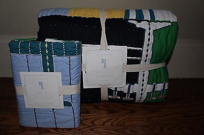 NWT Pottery Barn Kids Airplane twin quilt & euro sham planes