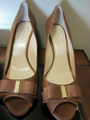 Jessica Simpson's Lynden Pumps Wedge Brown Shoes Size 13M Open Toe Brand New