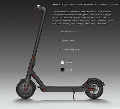 Electric Scooter Xiaomi M365, only 12.5kg. Speeds up to 25 km/h, 30km Range