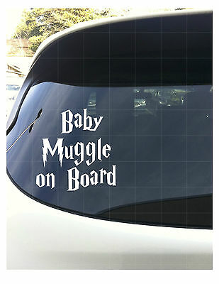 Baby Muggle on Board White Vinyl Decal Harry Potter 6""