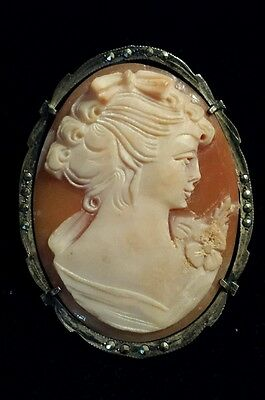 Large, Handcarved EXQUISITE Cameo! 800 Silver Marcasite frame for Pin or Pendant