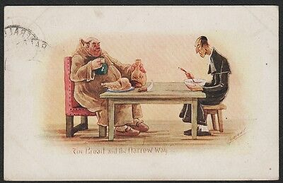 k2465)         EARLY 1900's COMIC POSTCARD, THE BROAD AND THE NARROW WAY