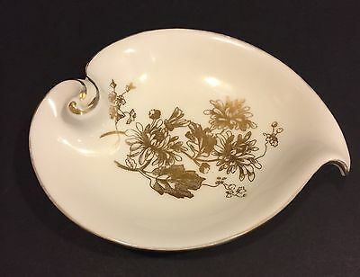 Hammersley Bone China England Trinket Dish Bowl Gold Trim Flowers Vintage
