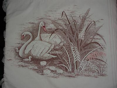Pink Swan Vintage Poly Cotton Ruffle Pillowcase Fabric Retro Unused Sewing New