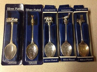 Five Exquisite Silver Plated Silver Spoon Souvenirs, Lot F